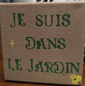 Burlap canvas 8 1/2 x 8 1/2 sign French Country